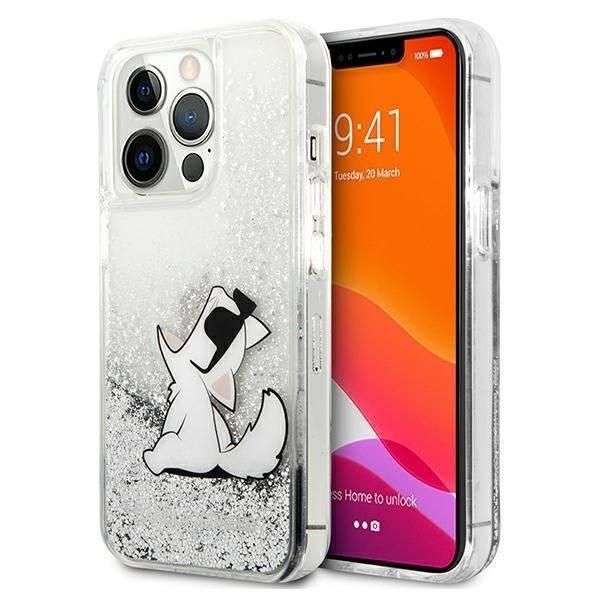 "Karl Lagerfeld KLHCP13XGCFS iPhone 13 Pro Max 6.7"" silver/silver hardcase Liquid Glitter Choupette Fun"