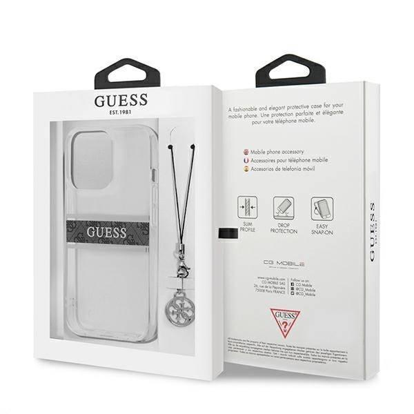 "Guess GUHCP13LKB4GGR iPhone 13 Pro / 13 6.1"" Transparentes HartschalenHülle 4G Grau Strap Charm"