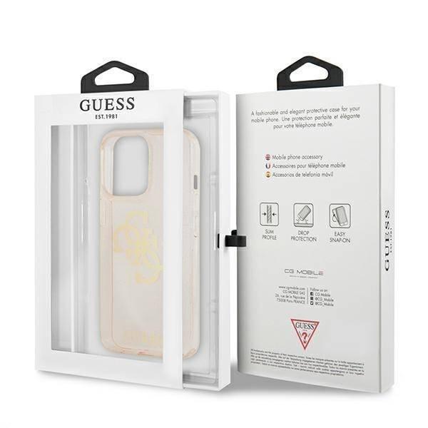 """Guess GUHCP13LPCUGL4GGO iPhone 13 Pro / 13 6.1"""" gold/gold Hartschalengehäuse Glitter 4G Big Logo"""