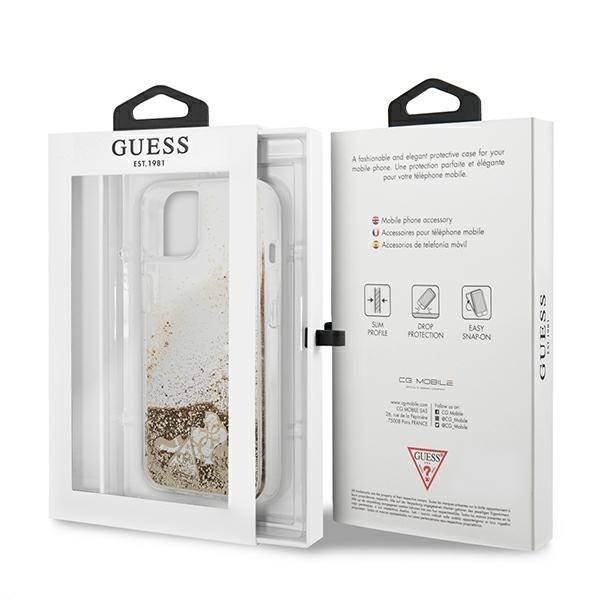 "Guess GUHCP13SGLHFLGO iPhone 13 mini 5.4"" Gold/Gold Hartschale Glitter Charms"