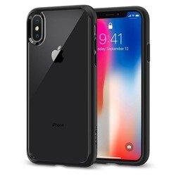 Hülle SPIGEN Ultra Hybrid iPhone X XS Mattschwarz + Glas SPIGEN