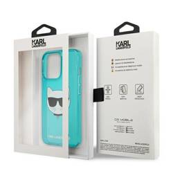 """Karl Lagerfeld KLHCP13LCHTRB iPhone 13 Pro / 13 6.1"""" blau/blau HartschalenHülle Glitter Choupette Fluo"""