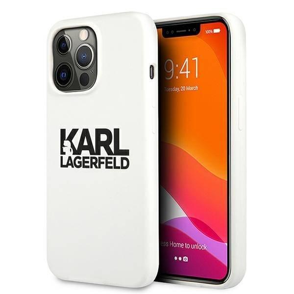 "Karl Lagerfeld KLHCP13XSLKLWH iPhone 13 Pro Max 6,7"" Silikon Stack Logo weiß/weiß"