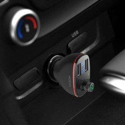 ROCK B300 2-PORT USB CHARGER CAR CHARGER + FM TRANSMITTER BLACK BLACK