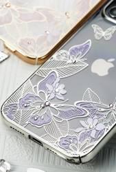 [PO ZWROCIE] Kingxbar Butterfly Series błyszczące etui ozdobione oryginalnymi Kryształami Swarovskiego motyle iPhone 12 Pro / iPhone 12 fioletowy