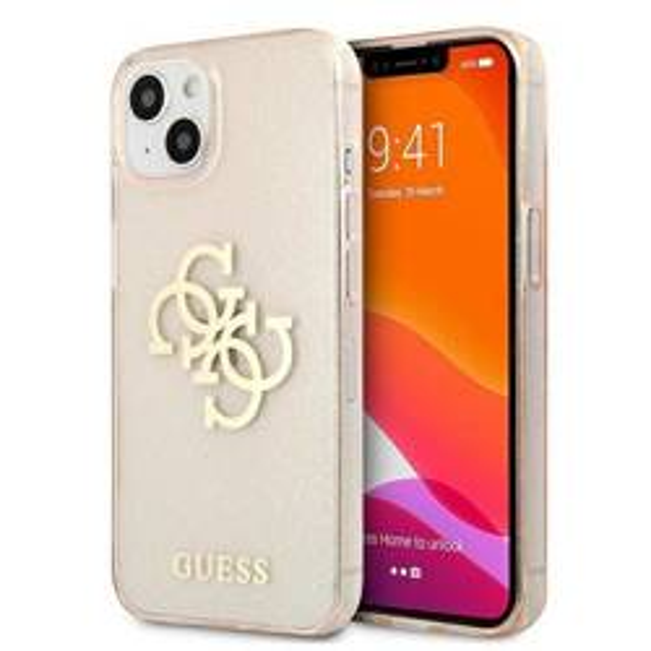 Etui GUESS Apple iPhone 13 Mini Glitter 4G Big Logo Złoty Hardcase