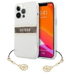Etui GUESS Apple iPhone 13 Pro Max 4G Brown Strap Charm Bezbarwny Hardcase