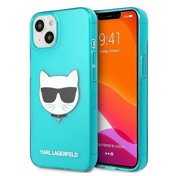 Etui KARL LAGERFELD Apple iPhone 13 Glitter Choupette Fluo Niebieski Hardcase