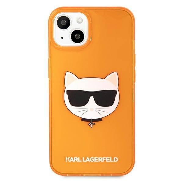 Etui KARL LAGERFELD Apple iPhone 13 Glitter Choupette Fluo Pomarańczowy Hardcase