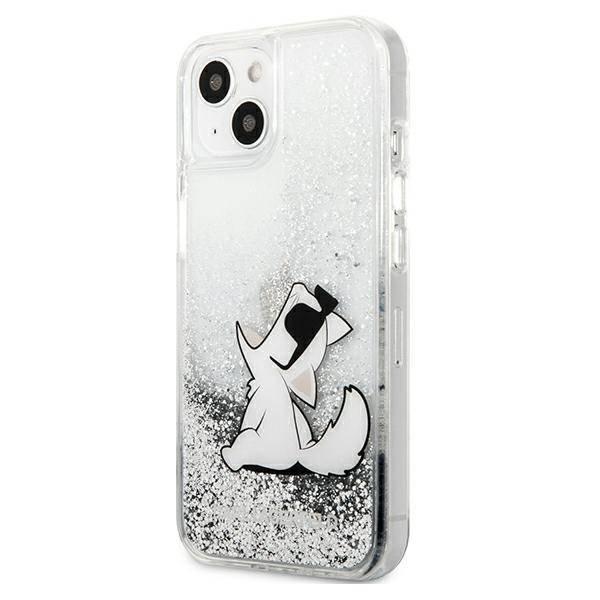 Etui KARL LAGERFELD Apple iPhone 13 Liquid Glitter Choupette Fun Srebrny Hardcase