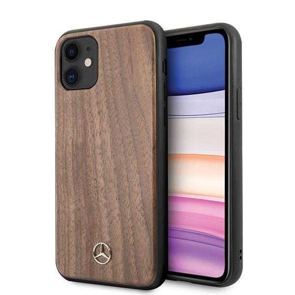 Etui MERCEDES Apple iPhone 11 Wood Line Walnut Brązowy Case