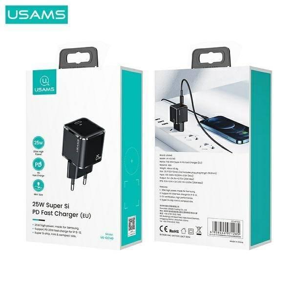 Ładowarka Sieciowa USAMS 1xUSB-C T42 Mini 25W 5V-3A PD3.0 Fast Charging Biały