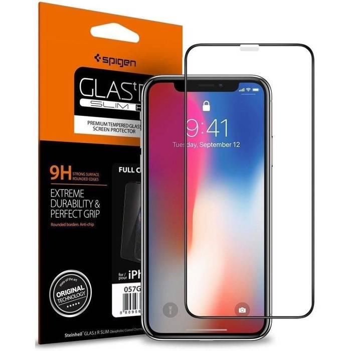 SZKŁO Hartowane SPIGEN SGP GLAS.TR Slim HD Apple iPhone 11 Pro X XS Full Cover FC